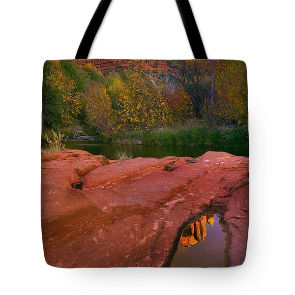 Red Rock Reflection Tote Bag by Mike  Dawson