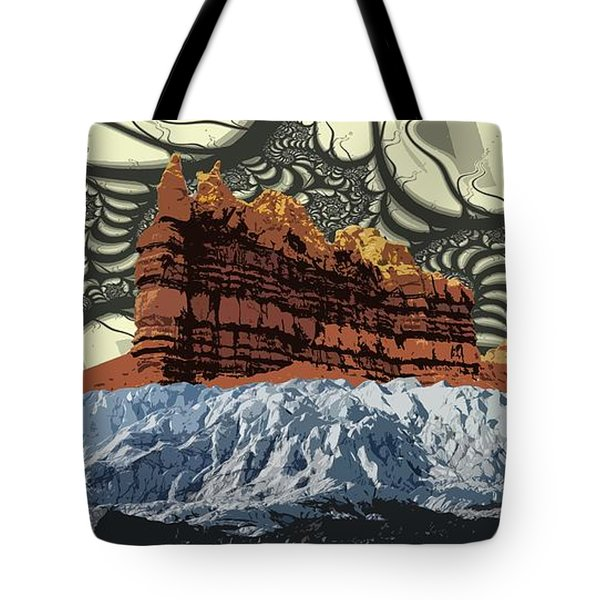 Red Rock White Ice Tote Bag by Ron Bissett
