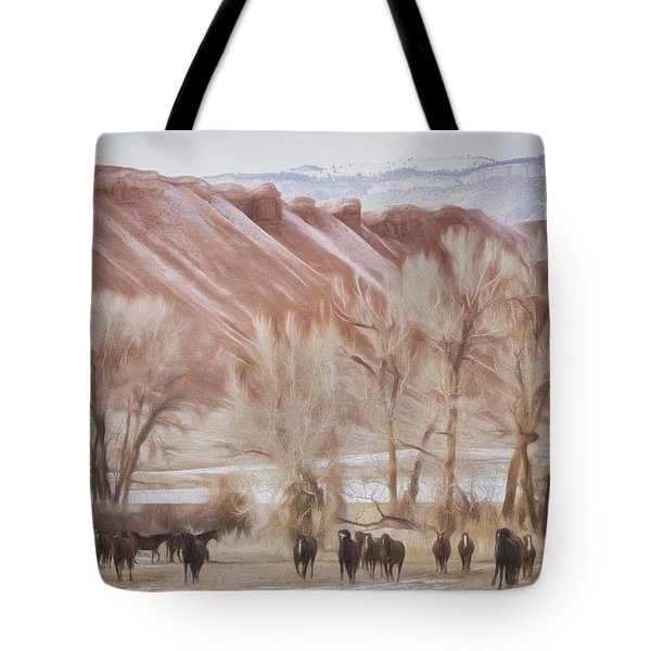 Red Rocks And Horses Tote Bag