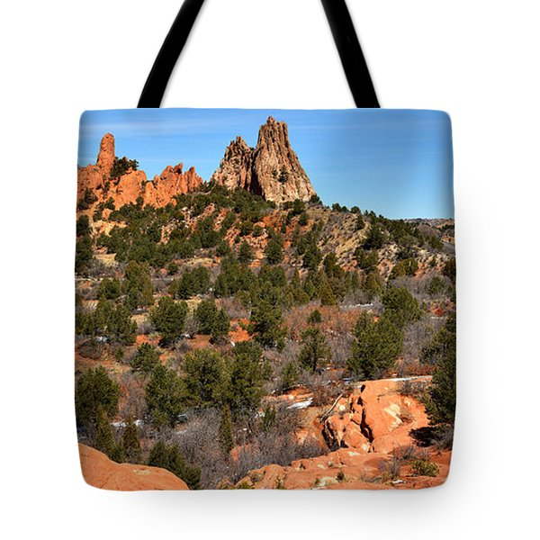 Tote Bag featuring the photograph Red Rocks At High Point by Adam Jewell