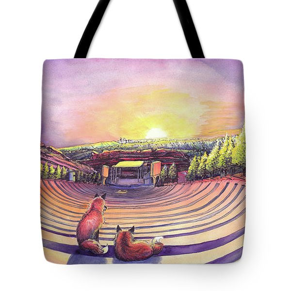 Foxes At Red Rocks Sunrise Tote Bag