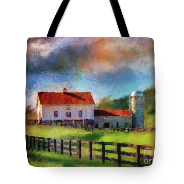 Tote Bag featuring the digital art Red Roof Barn by Lois Bryan