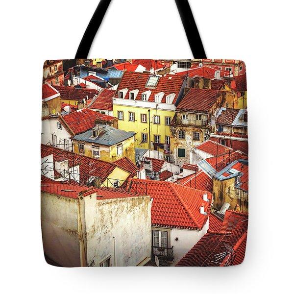 Red Rooftops Of Old Alfama Lisbon  Tote Bag