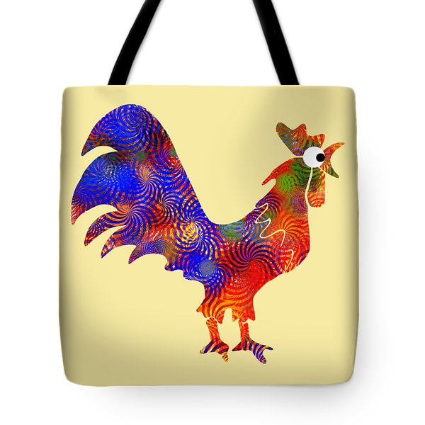 Red Rooster Art Tote Bag by Christina Rollo