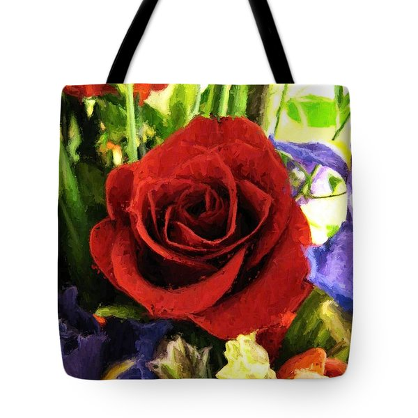 Red Rose And Flowers Tote Bag