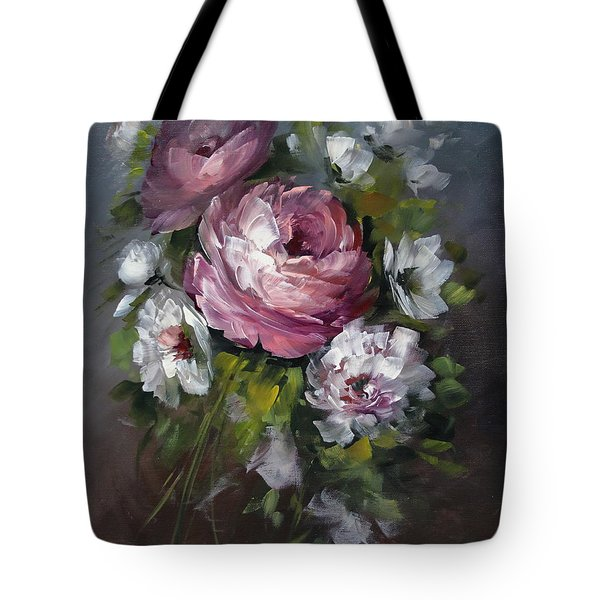 Red Rose And White Peony Tote Bag by David Jansen