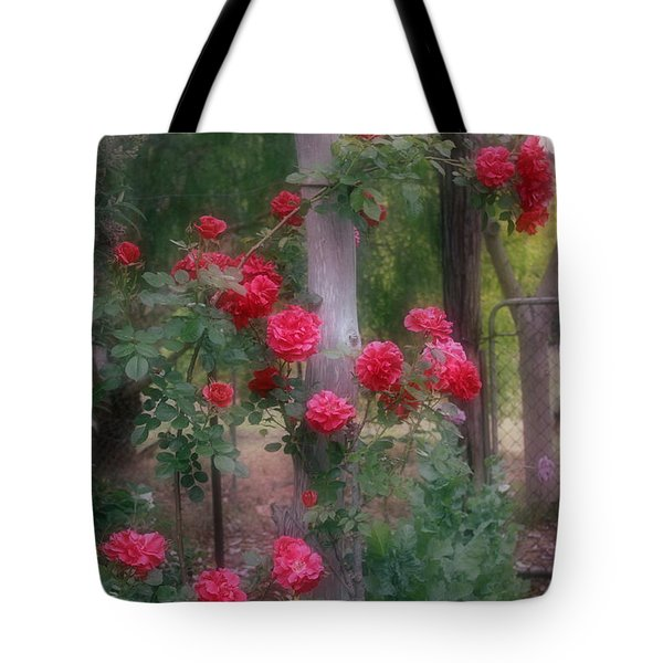 Tote Bag featuring the photograph Red Rose Dream by Elaine Teague
