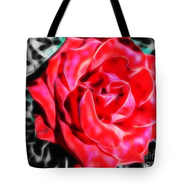 Red Rose Fractal Tote Bag