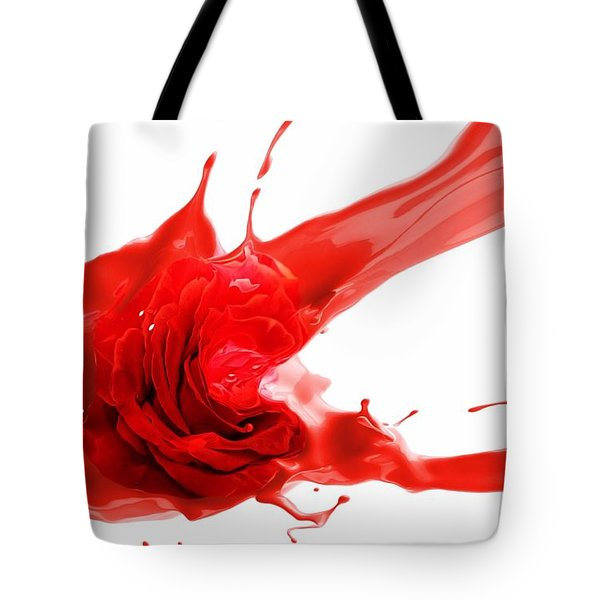 Tote Bag featuring the mixed media Red Rose by Gabriella Weninger - David