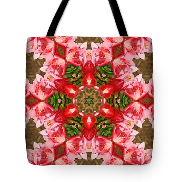 Red Rose Kaleidoscope Tote Bag by Bill Barber
