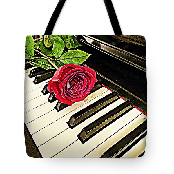 Red Rose On A Piano  Tote Bag