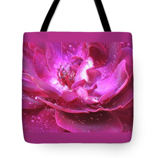 Red Rose Rain Dance - 2nd In A Series Of 6 Tote Bag