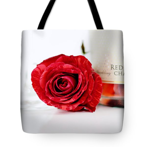Red Rose With Champagne Tote Bag