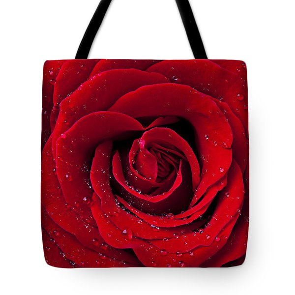 Red Rose With Dew Tote Bag by Garry Gay
