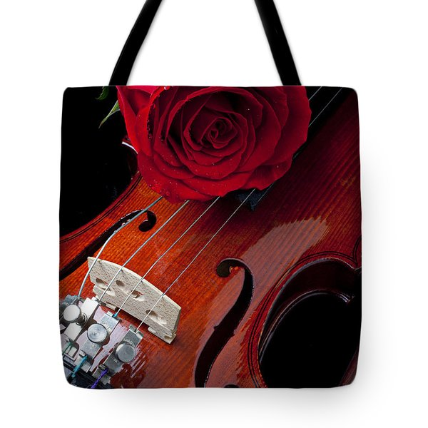 Red Rose With Violin Tote Bag