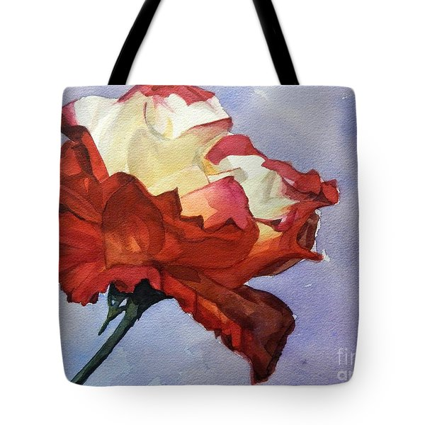 Watercolor Of A Red And White Rose On Blue Field Tote Bag