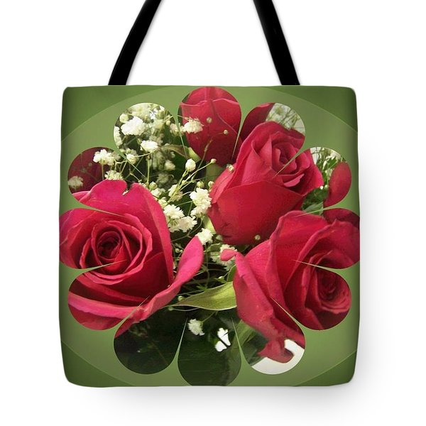 Tote Bag featuring the digital art Red Roses And Baby's Breath Bouquet by Sonya Nancy Capling-Bacle
