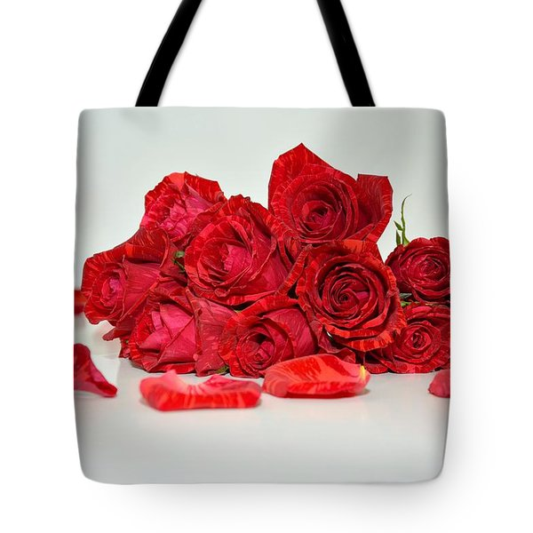 Red Roses And Rose Petals Tote Bag