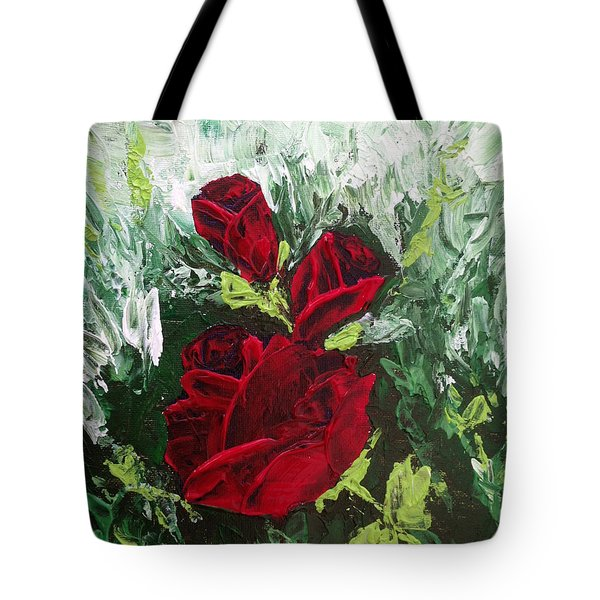 Red Roses In Bloom Tote Bag