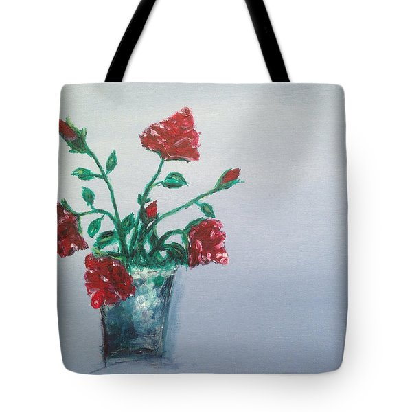 Red Roses In Silver Pot Tote Bag