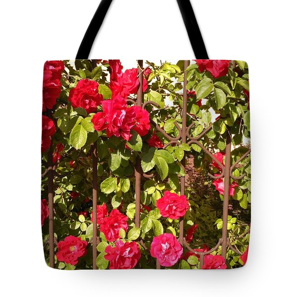 Red Roses In Summertime Tote Bag by Arletta Cwalina