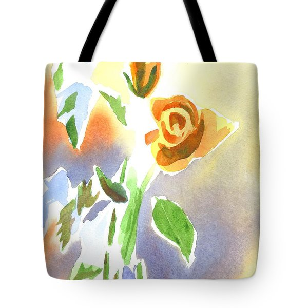 Tote Bag featuring the painting Red Roses With Holly In A Vase by Kip DeVore
