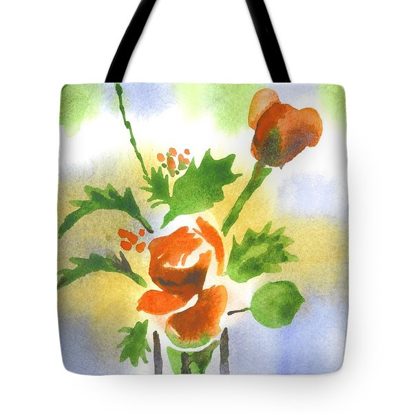 Tote Bag featuring the painting Red Roses With Holly by Kip DeVore