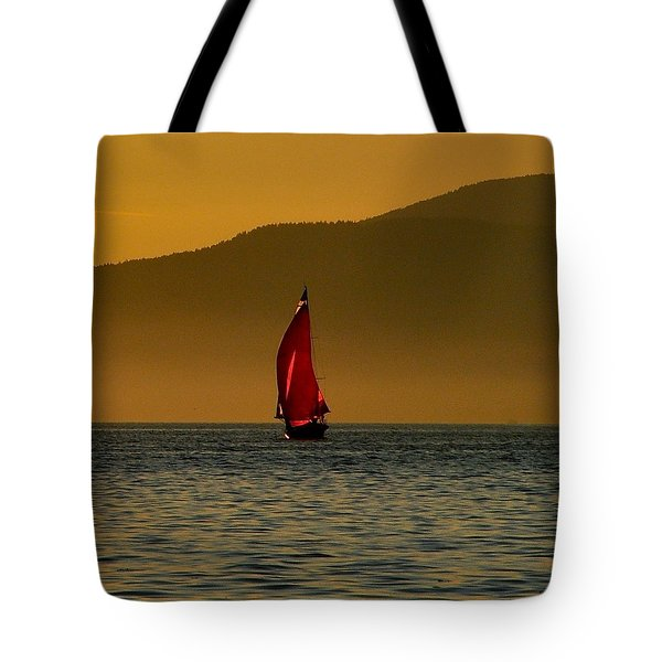 Red Sailboat Tote Bag