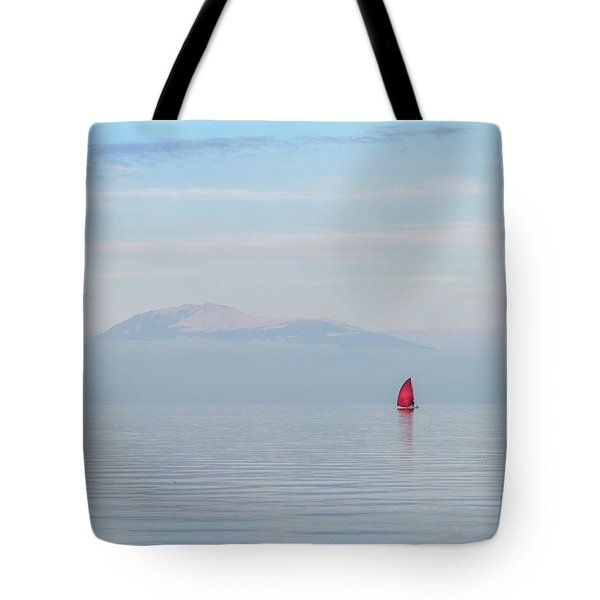 Red Sailboat On Lake Tote Bag