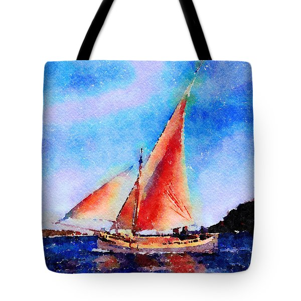 Tote Bag featuring the painting Red Sails Delight by Angela Treat Lyon