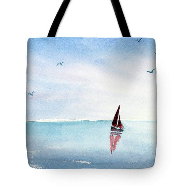 Red Sails On A Blue Sea Tote Bag