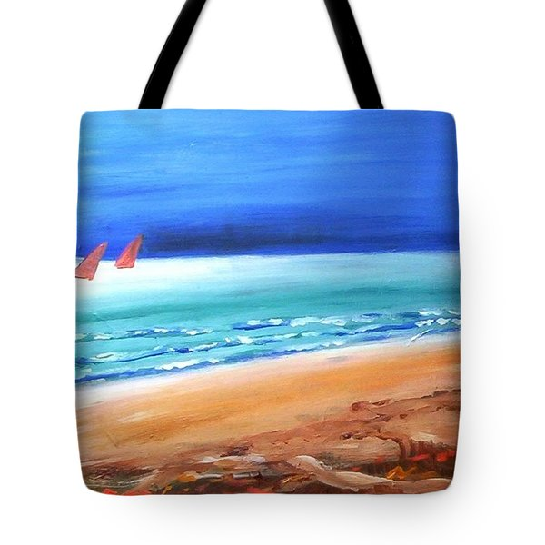 Tote Bag featuring the painting Red Sails by Winsome Gunning