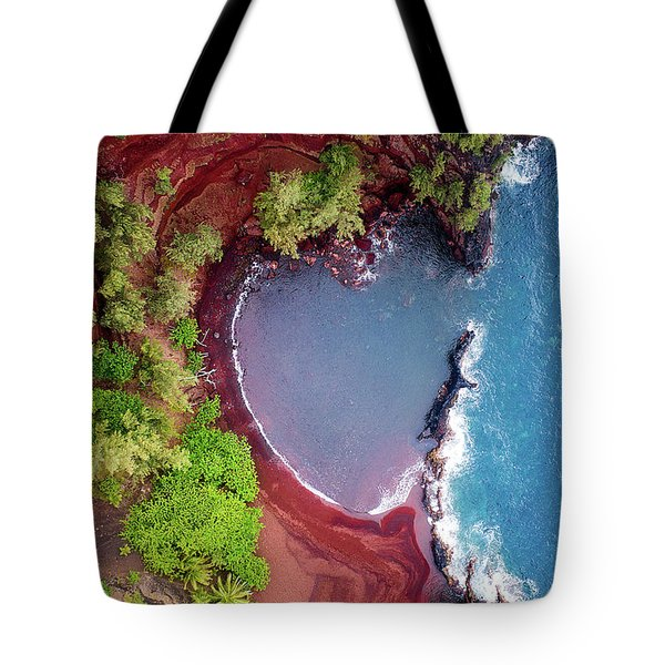 Red Sand Heart Tote Bag