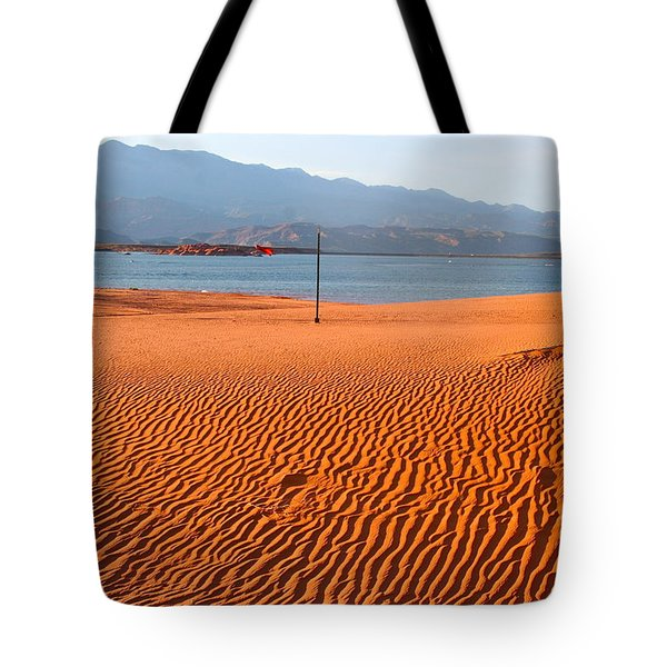 Red Sand Waves Tote Bag