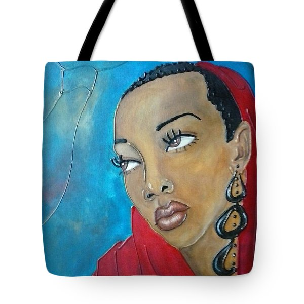 Red Scarf Tote Bag by Jenny Pickens