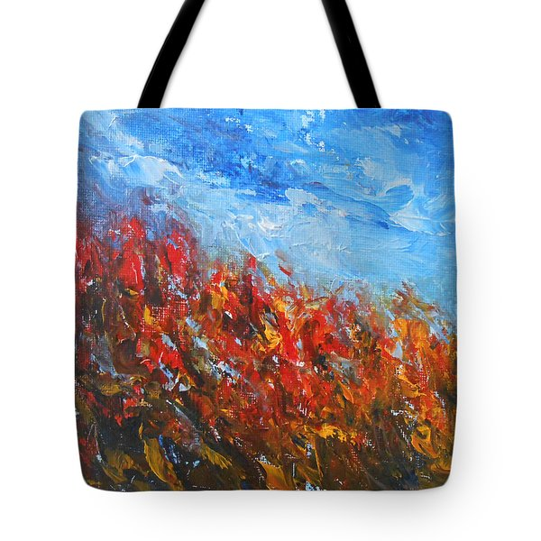 Tote Bag featuring the painting Red Sensation by Jane See