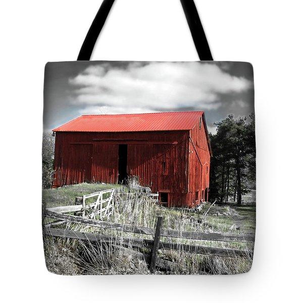 Red Shack Landscape Tote Bag by Joan  Minchak