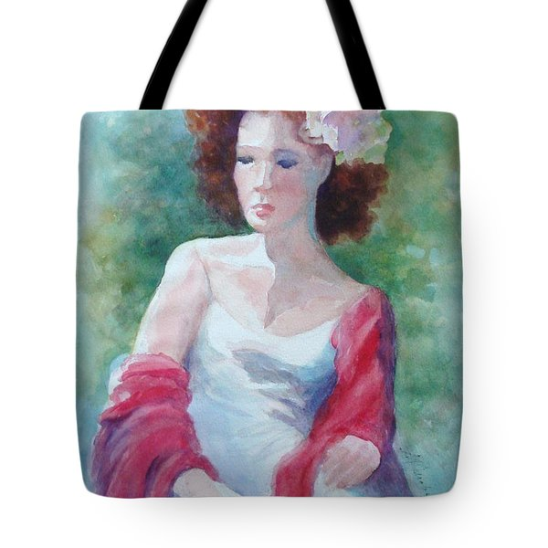 Red Shawl Tote Bag by Marilyn Jacobson