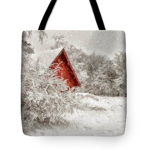Red Shed In The Snow Tote Bag