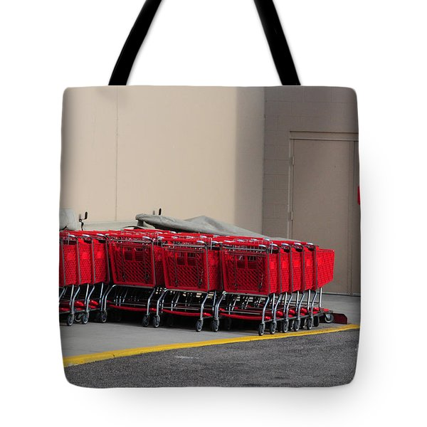 Red Shopping Carts In A Row Tote Bag by Merrimon Crawford