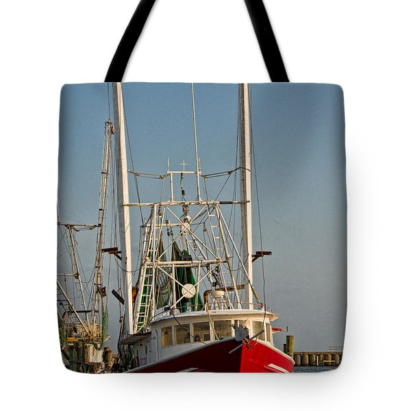 Red Shrimp Boat Tote Bag by Christopher Holmes