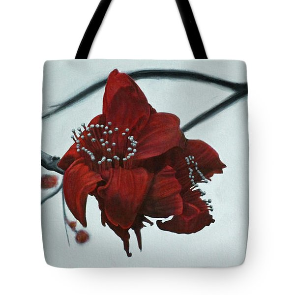 Red Silk Cotton Flower Tote Bag