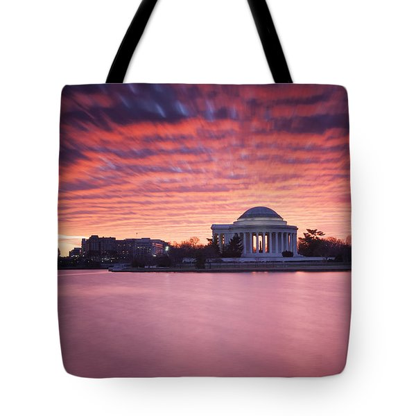 Tote Bag featuring the photograph Red Skies At Dawn by Edward Kreis