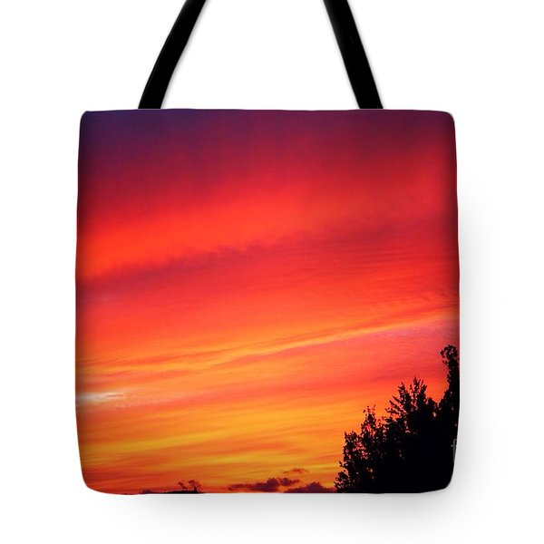 Tote Bag featuring the photograph Red Skies At Night  by Nick Gustafson