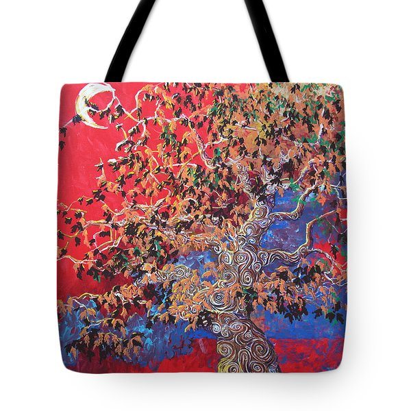 Red Sky And Tree Tote Bag