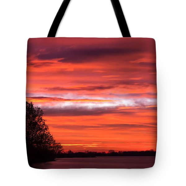Red Sky At Morning Pano Tote Bag