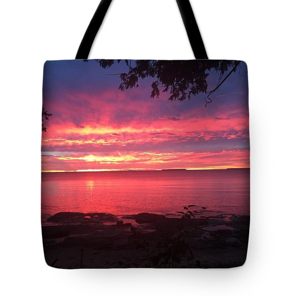 Tote Bag featuring the photograph Red Sky At Night by Paula Brown
