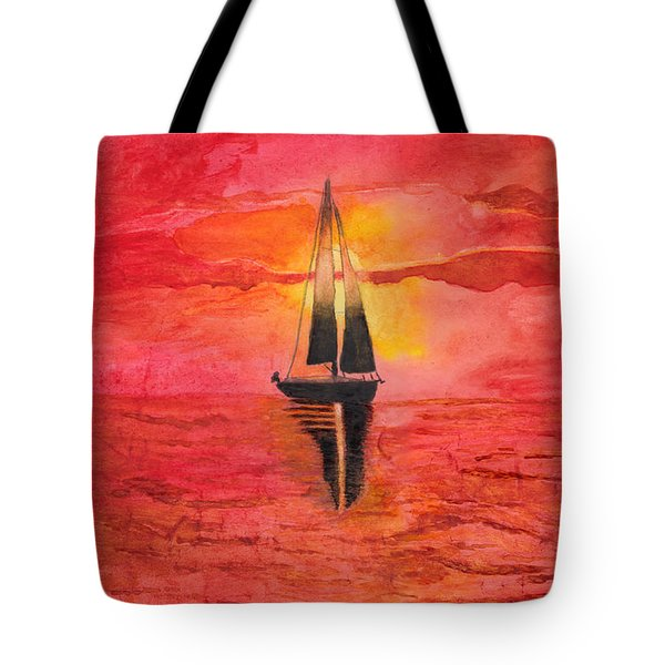 Red Sky At Night Sailors Delight Watercolor Tote Bag