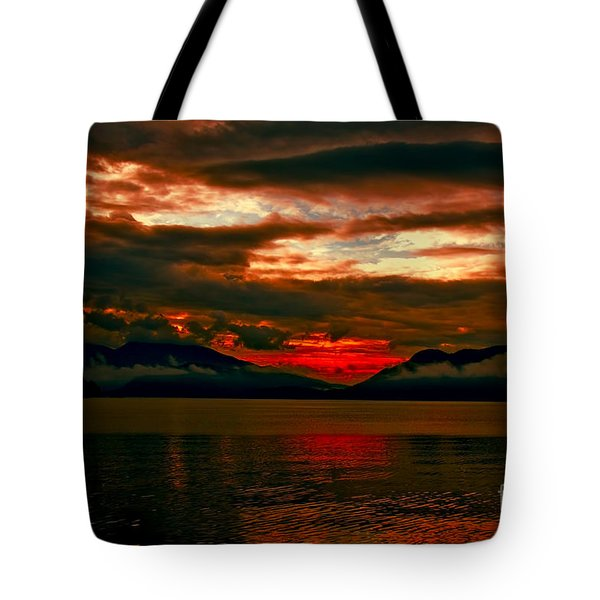 Red Sky Tote Bag by Elaine Hunter