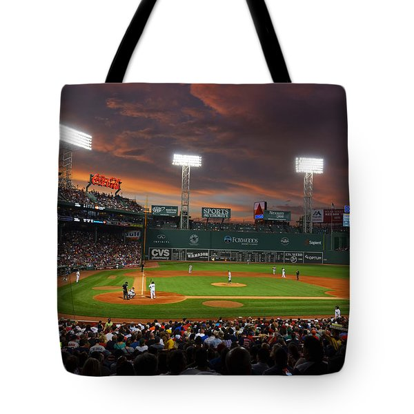 Red Sky Over Fenway Park Tote Bag